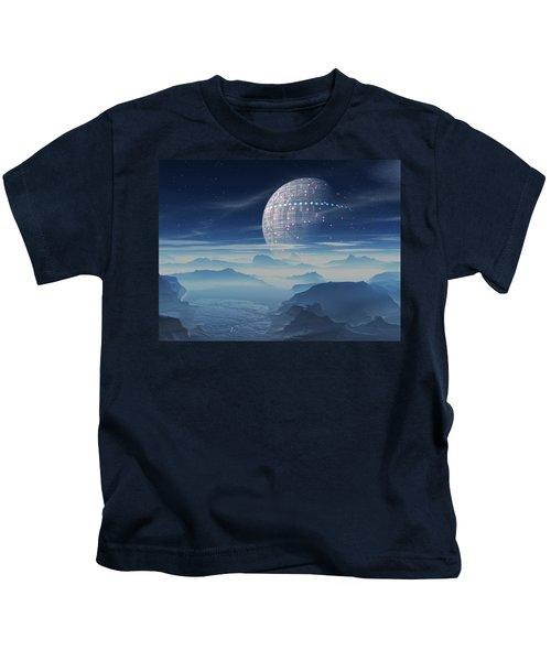 Tranus Alien Planet With Satellite Kids T-Shirt