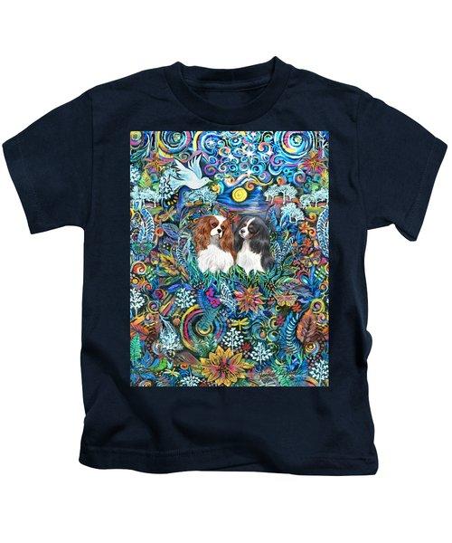 Two Cavaliers In A Garden Kids T-Shirt