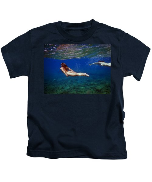 Two Girls Under The Sea Kids T-Shirt