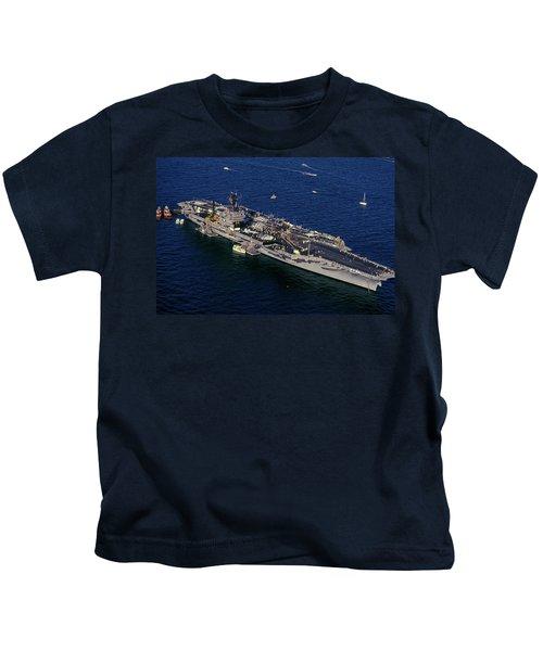 Uss Kennedy, New York Harbor, New York Kids T-Shirt