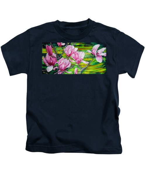 Watercolor Exercise Magnolias Kids T-Shirt