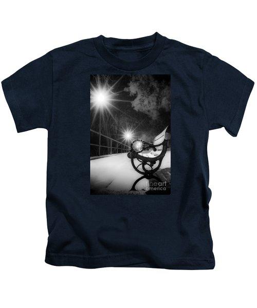 Winter Night Along The River Kids T-Shirt