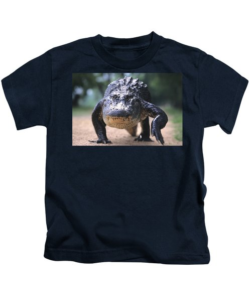 American Alligator Walking On A Trail Kids T-Shirt
