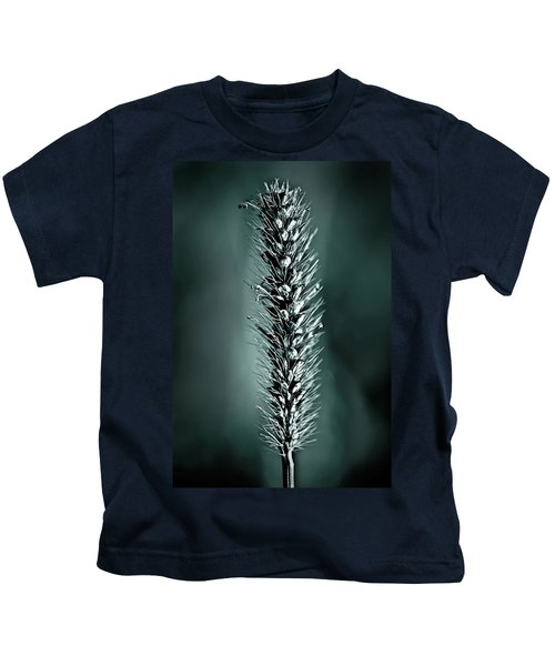 Grass Seedhead In Deep Cyan Kids T-Shirt