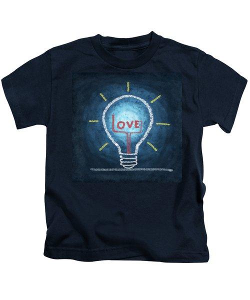 Love Word In Light Bulb Kids T-Shirt