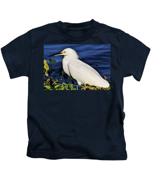Profile Of A Snowy Egret Kids T-Shirt