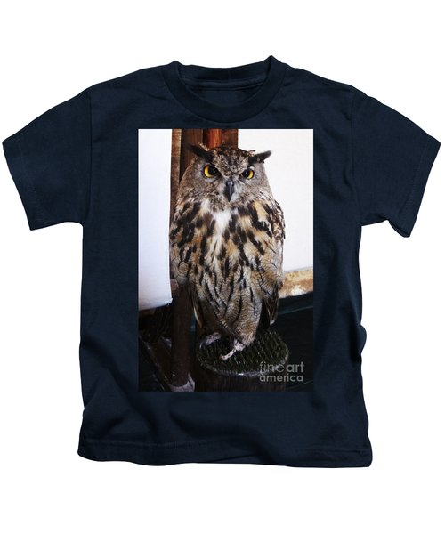 Yellow Owl Eyes Kids T-Shirt