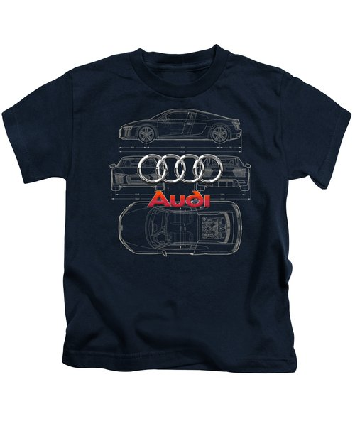 Audi 3 D Badge Over 2016 Audi R 8 Blueprint Kids T-Shirt