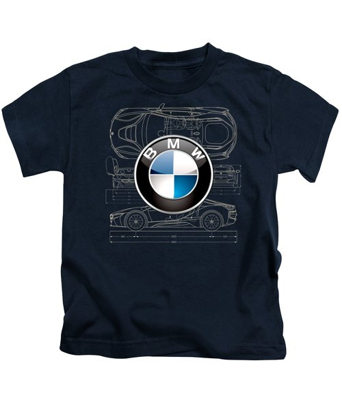 B M W 3 D Badge Over B M W I8 Blueprint  Kids T-Shirt