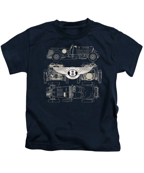 Bentley - 3 D Badge Over 1930 Bentley 4.5 Liter Blower Vintage Blueprint Kids T-Shirt