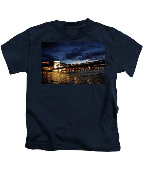 Blue Danube Sunset Budapest Kids T-Shirt