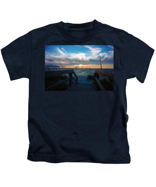 Boardwalk At Delnor-wiggins Pass State Park Kids T-Shirt