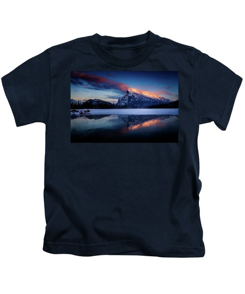 Last Light On Mount Rundle Kids T-Shirt