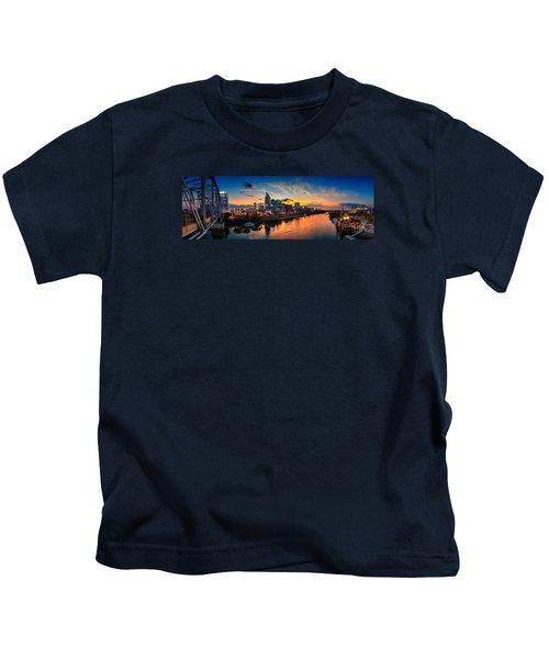 Nashville Skyline Panorama Kids T-Shirt by Brett Engle