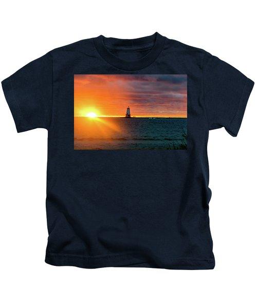 Sunset And Lighthouse Kids T-Shirt