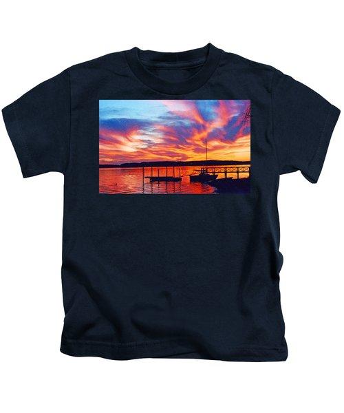 Sunset Over Lake Murray Kids T-Shirt