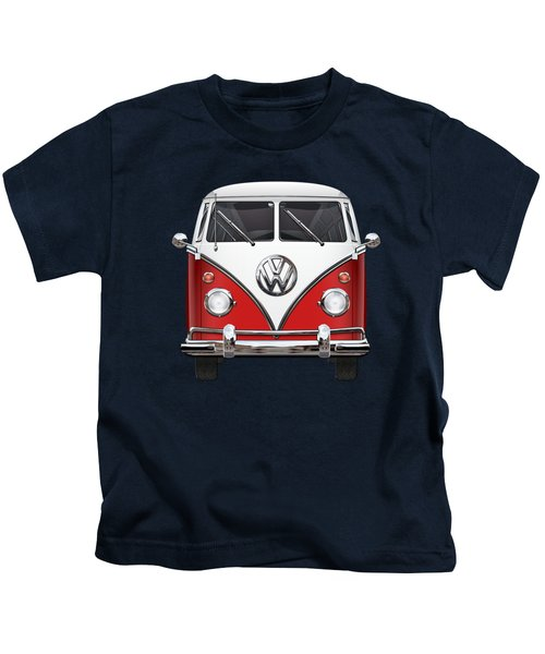 Volkswagen Type 2 - Red And White Volkswagen T 1 Samba Bus Over Green Canvas  Kids T-Shirt