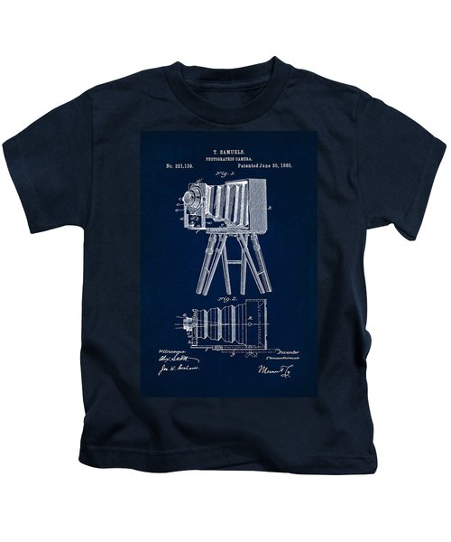 1885 Camera Us Patent Invention Drawing - Dark Blue Kids T-Shirt