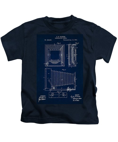 1891 Camera Us Patent Invention Drawing - Dark Blue Kids T-Shirt