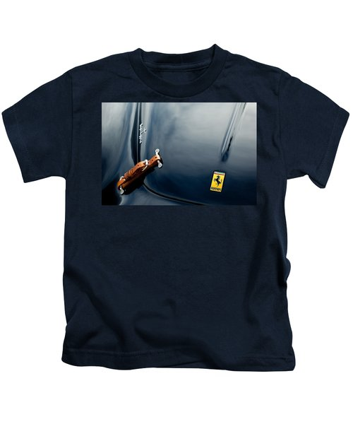 Kids T-Shirt featuring the photograph 1950 Ferrari Hood Emblem by Jill Reger
