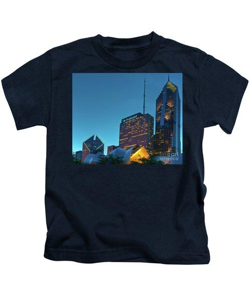 A View From Millenium Park At Dusk Kids T-Shirt