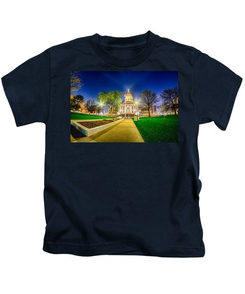 Topeka Kansas Downtown At Night Kids T-Shirt