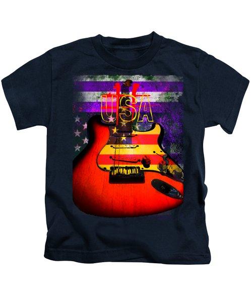 Red Usa Flag Guitar  Kids T-Shirt