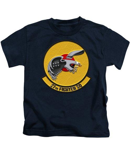 27th Fighter Squadron - 27 Fs Over Blue Velvet Kids T-Shirt by Serge Averbukh