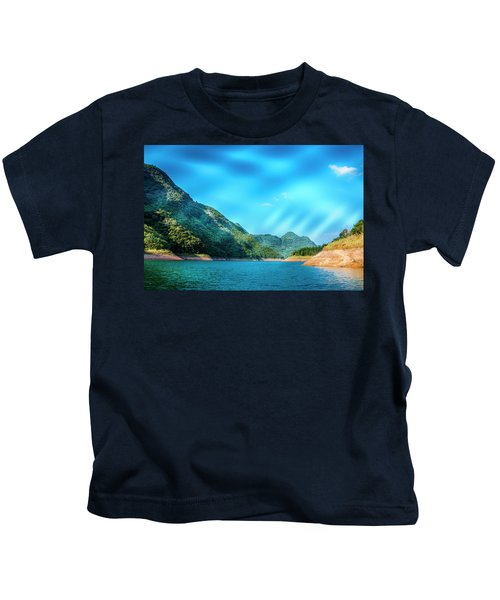 The Mountains And Reservoir Scenery With Blue Sky Kids T-Shirt