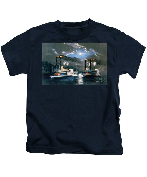 A Midnight Race On The Mississippi Kids T-Shirt