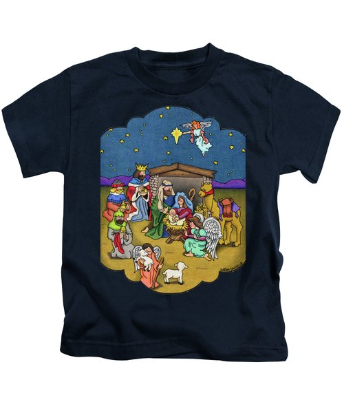 A Nativity Scene Kids T-Shirt by Sarah Batalka