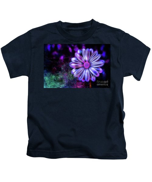 Abstract Glowing Purple And Blue Flower Kids T-Shirt