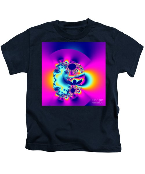 Abstract Pink And Turquoise Fractal Globe Kids T-Shirt