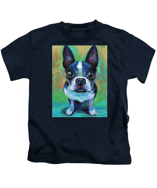 Adorable Boston Terrier Dog Kids T-Shirt