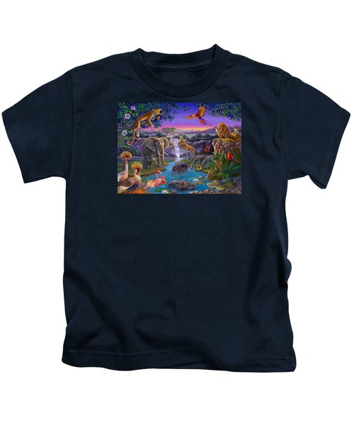 African Animals At The Water Hole Kids T-Shirt