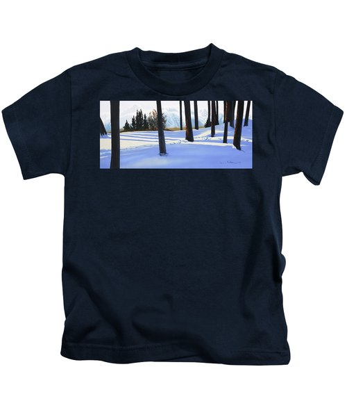 Afternoon In Snowy Mountains Kids T-Shirt