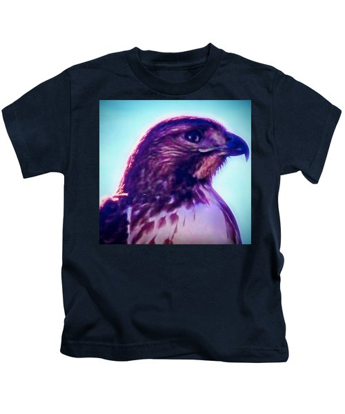 Kids T-Shirt featuring the photograph Ak-chin Red-tailed Hawk Portrait by Judy Kennedy