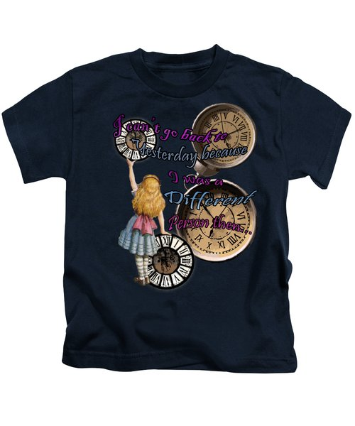 Alice In Wonderland Travelling In Time Kids T-Shirt