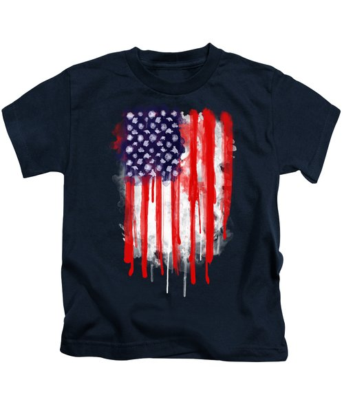 American Spatter Flag Kids T-Shirt by Nicklas Gustafsson