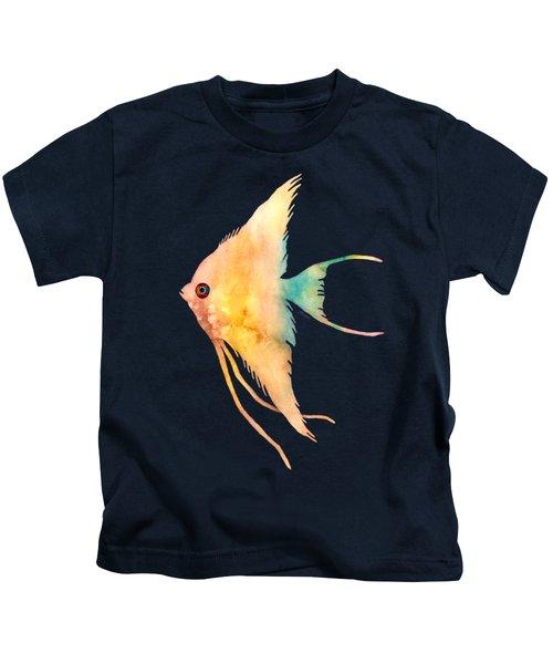 Angelfish II - Solid Background Kids T-Shirt by Hailey E Herrera
