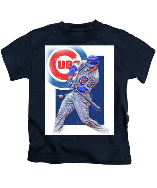 Anthony Rizzo Chicago Cubs Oil Art Kids T-Shirt