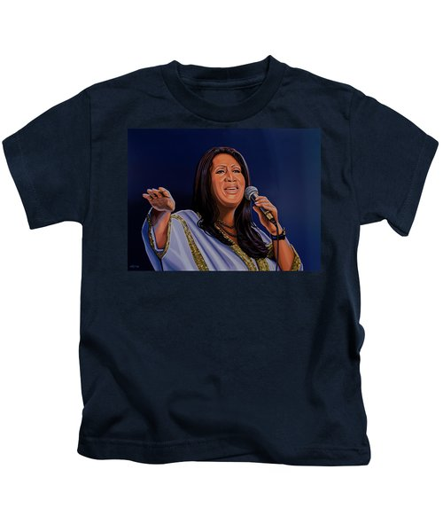 Aretha Franklin Painting Kids T-Shirt by Paul Meijering