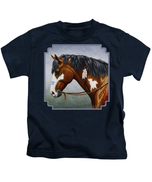 Bay Native American War Horse Kids T-Shirt by Crista Forest