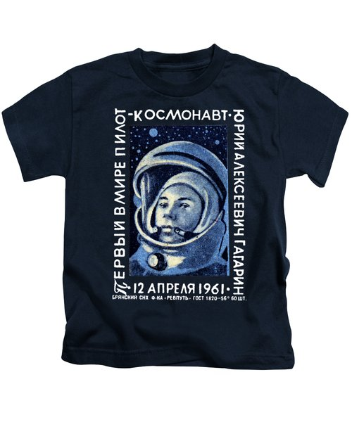 1961 First Man In Space, Yuri Gagarin Kids T-Shirt by Historic Image