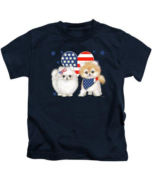 Patriotic Pomeranians Kids T-Shirt