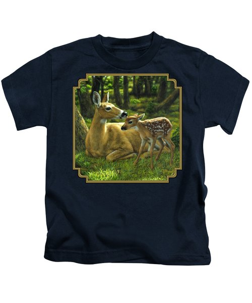 Whitetail Deer - First Spring Kids T-Shirt by Crista Forest