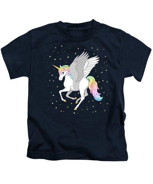 Pretty Rainbow Unicorn Flying Horse Kids T-Shirt