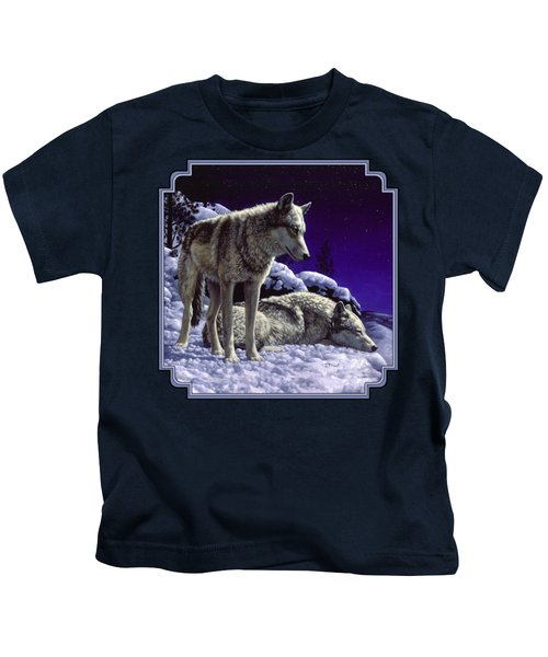 Wolf Painting - Night Watch Kids T-Shirt