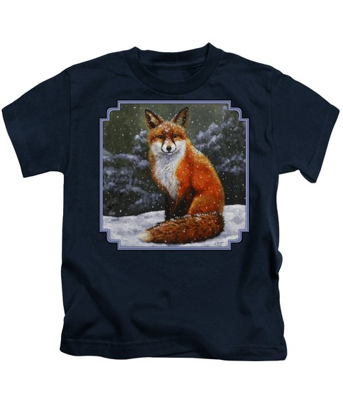 Snow Fox Kids T-Shirt by Crista Forest