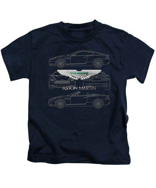 Aston Martin 3 D Badge Over Aston Martin D B 9 Blueprint Kids T-Shirt